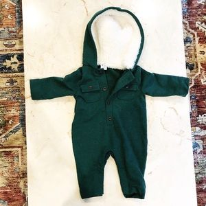 Janie & Jack NBW Hooded Romper with Fur